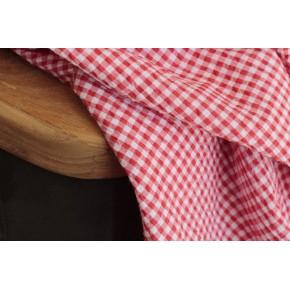 tissu seersucker rouge et blanc