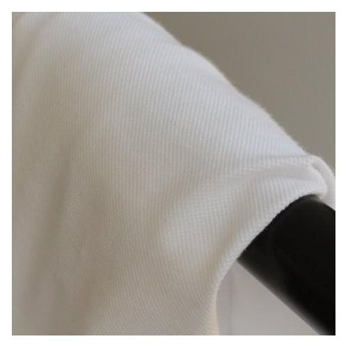 Tissu jersey polo - maille piquée blanc