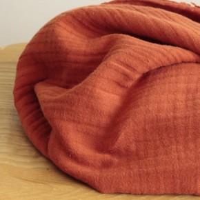 tissu triple gaze de coton - brique