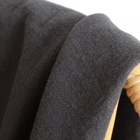 tissu lin lavé noir - un chat sur un fil