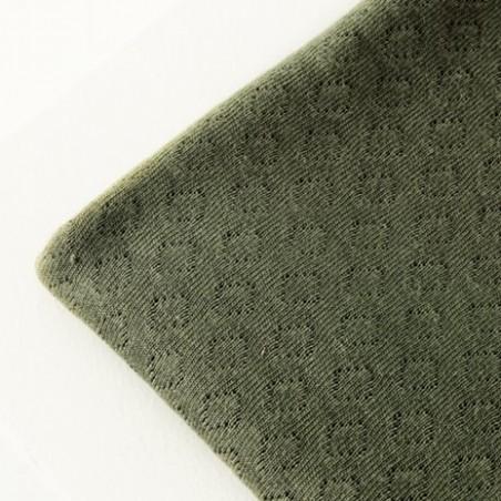 Organic gem pointelle - olive green