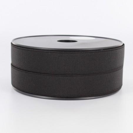 élastique côtelé 25mm noir