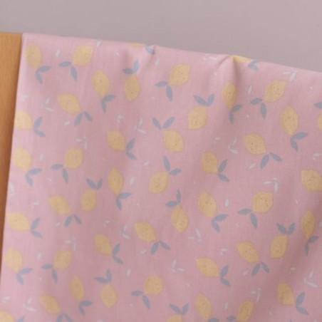 Popeline coton bio - Lemon rose