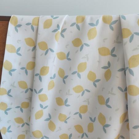 Popeline coton bio - Lemon blanc