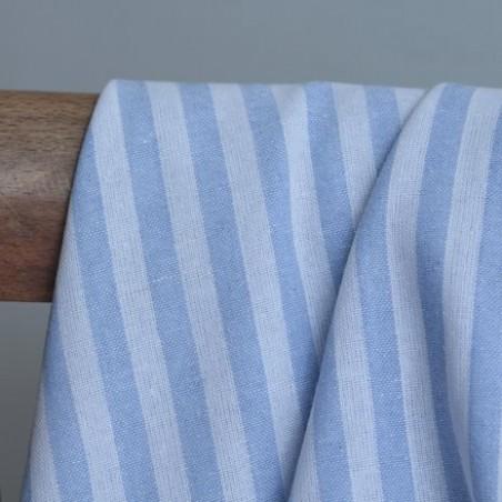 Coton rayures - bleu ciel