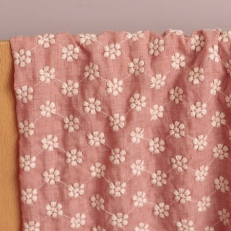 Coton chambray rose Brodé fleurs