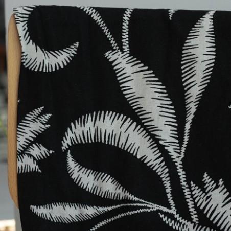 Lin et Viscose -  palmiers noir