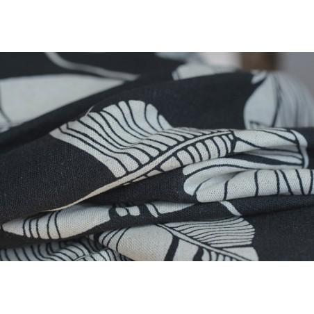 lin et viscose imprimé feuilles de bananiers - gris et écru