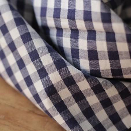 Tissu coton vichy - marine