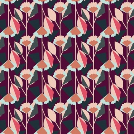 Florence Plum Fabric - Cotton and Steel