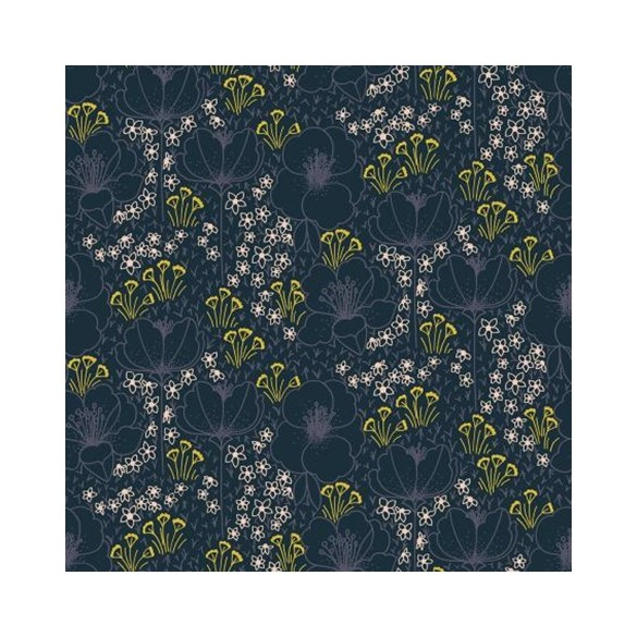 Coton Megan Navy Fabric - Cotton And Steel