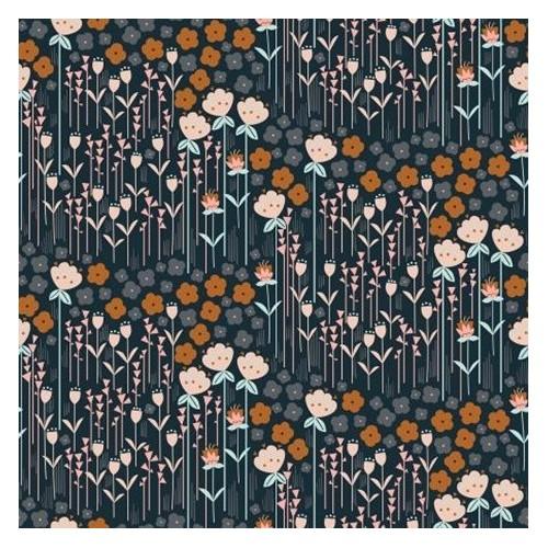 Coton Matilda Navy Fabric - Cotton And Steel