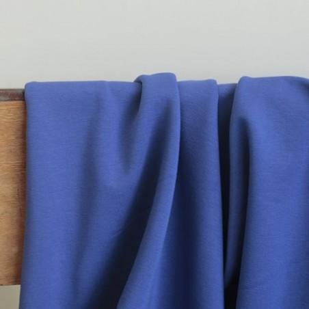 Tissu sweat fin bleu - Un chat sur un fil