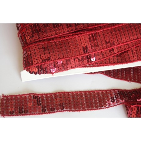 Galon pailettes sequins rouge