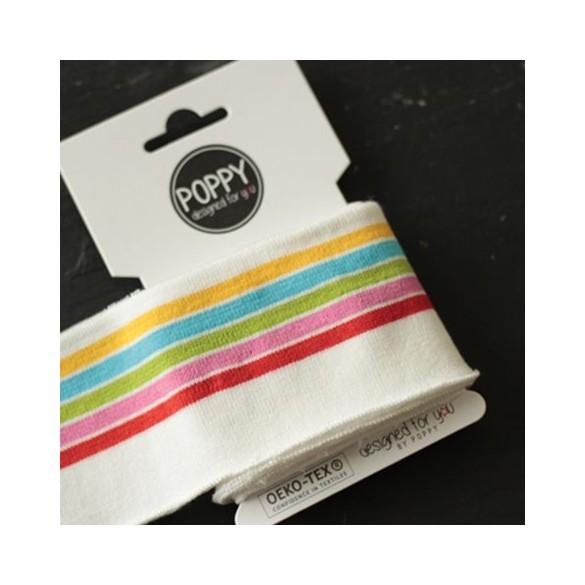 Bord-côte Poppy - blanc rayures multico