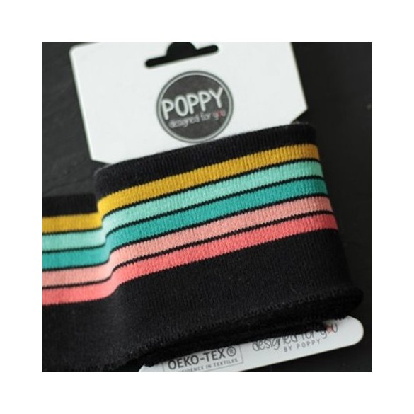 Bord-côte Poppy - noir rayures multico