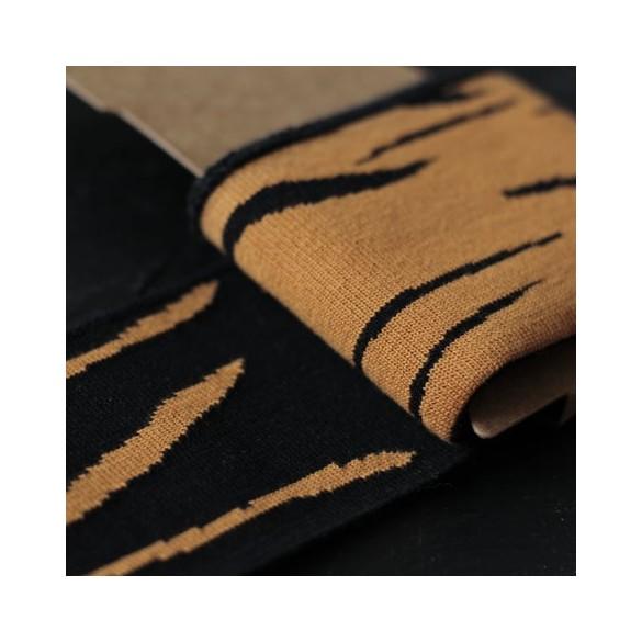 Bord-côte cuff zébré - orange clair et noir
