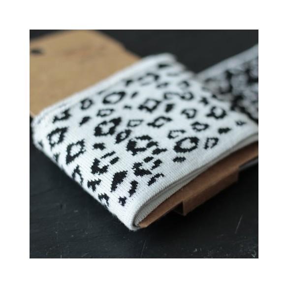 Bord-côte cuff léopard - écru/noir
