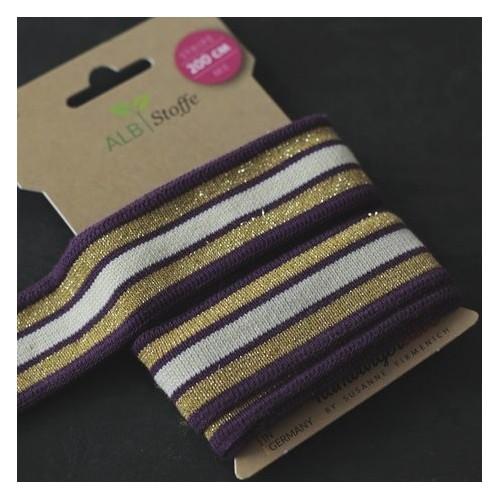 Bande de jersey en coton bio - prune/écru/doré