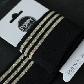 Bord-côte Poppy - noir rayures lurex dorées