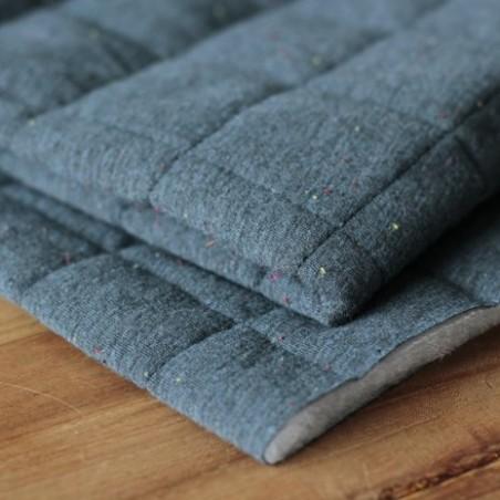 Coton matelassé bleu chiné