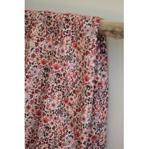 tissu coton fleurs rose