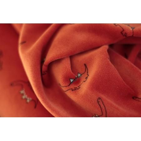 tissu Velours dinosaures - orange
