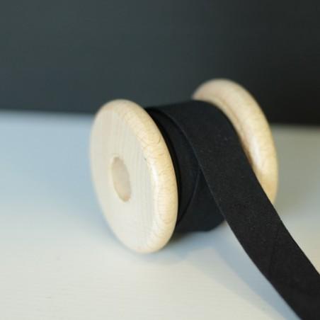 Biais 20 mm coton bio - Noir