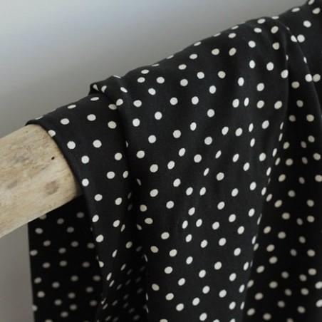 Tissu twill de viscose - small dots black