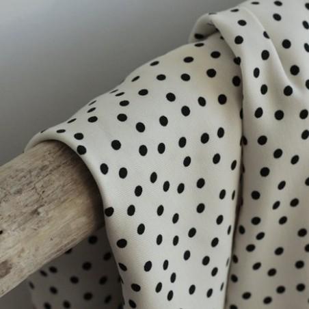 Tissu twill de viscose - small dots ecru