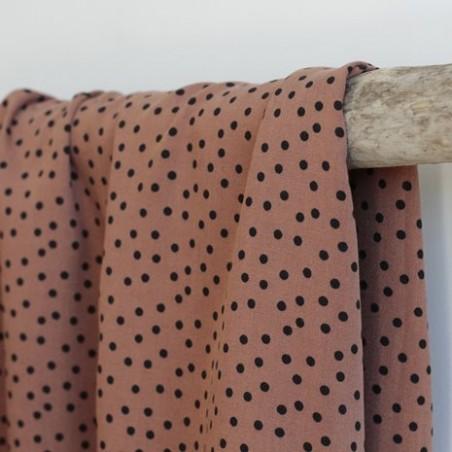 Tissu twill de viscose - small dots tobacco