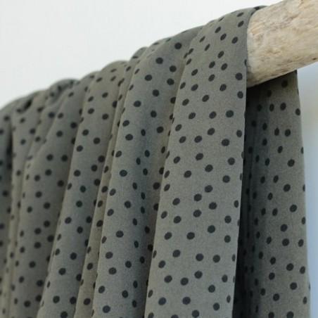 Tissu twill de viscose - small dots army