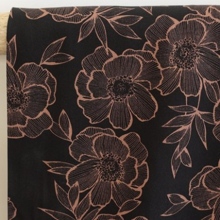 Twill de viscose - Flower black