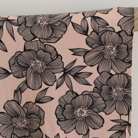 Tissu Twill de viscose - Flower nude