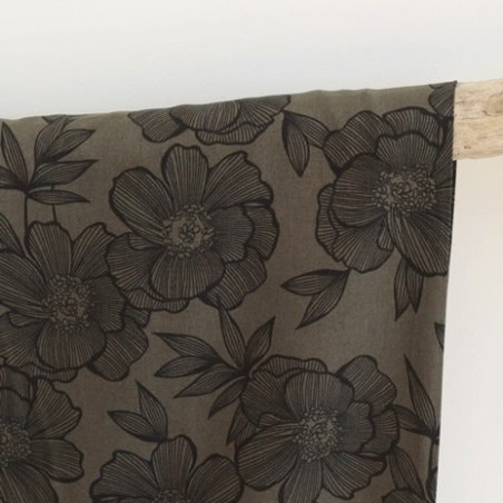 Tissu Twill de viscose - Flower army