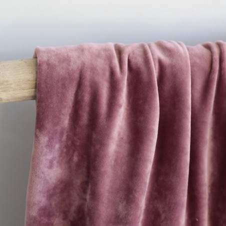 Tissu Sweat velours vieux rose