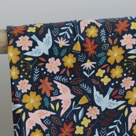 Tissu velours milleraies flowers and birds - bleu