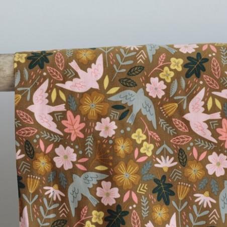 Tissu velours milleraies flowers and birds - moutarde