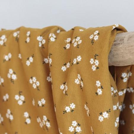 tissu velours milleraies - moutarde