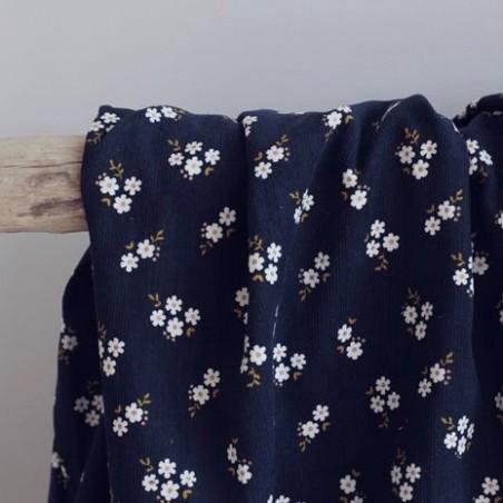 Tissu velours milleraies small flowers - marine