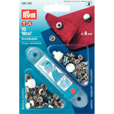 Boutons pressions mini argent Prym + outil