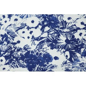 Satin de coton flowers blue LES 2M