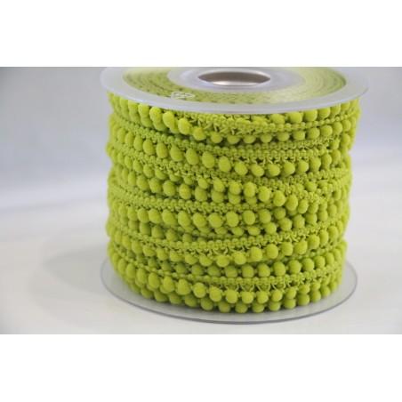 Galon petits pompons vert anis