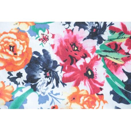 Gabardine stretch fleurs