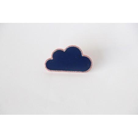 Broche nuage marine/rose cuivrée