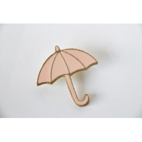 Broche parapluie rose un chat sur un fil