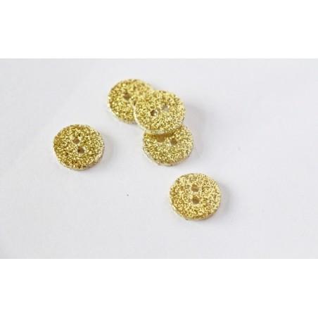 Bouton rond SUPER paillettes dorées