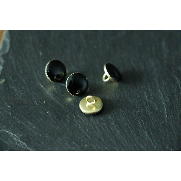 Bouton rond métal noir