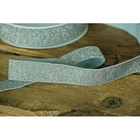 Elastique côtelé argenté 20 mm