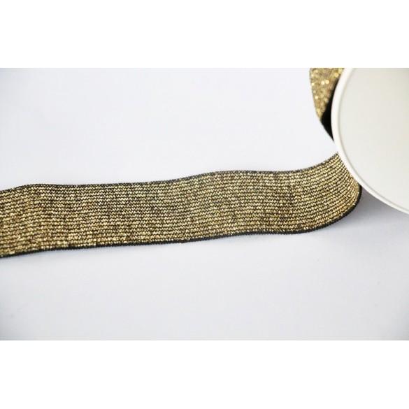 Elastique côtelé doré/noir 30 mm